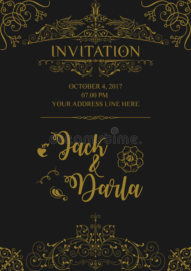 Wedding invitation card background design template vector isolated download wedding invitation card background design template vector isolated background with vintage ornament border stock stopboris Gallery