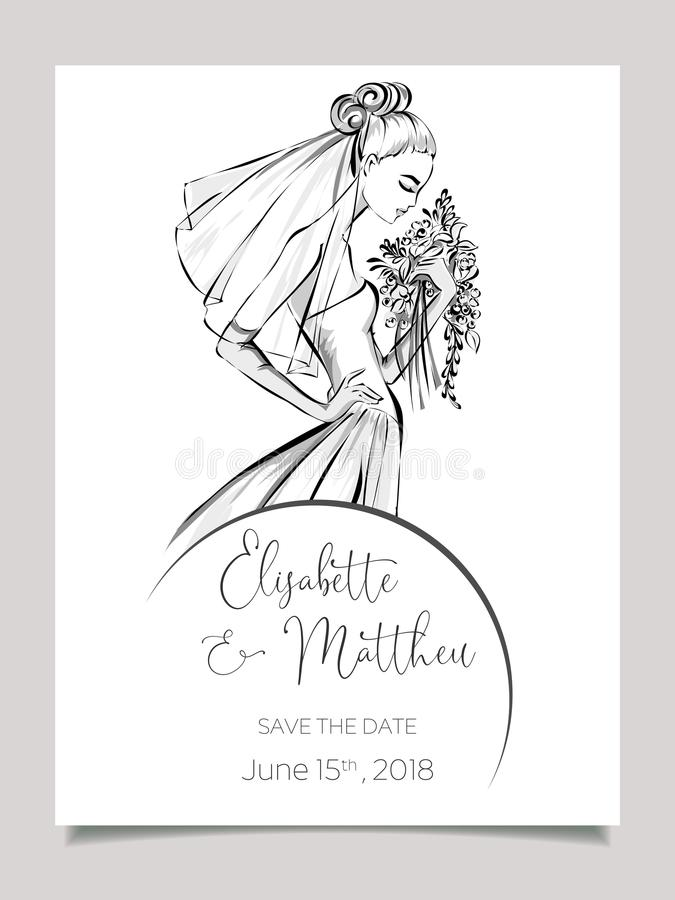 Wedding invitation card with beautiful bride. Clip art set black and white wedding card template vector illistration royalty free illustration