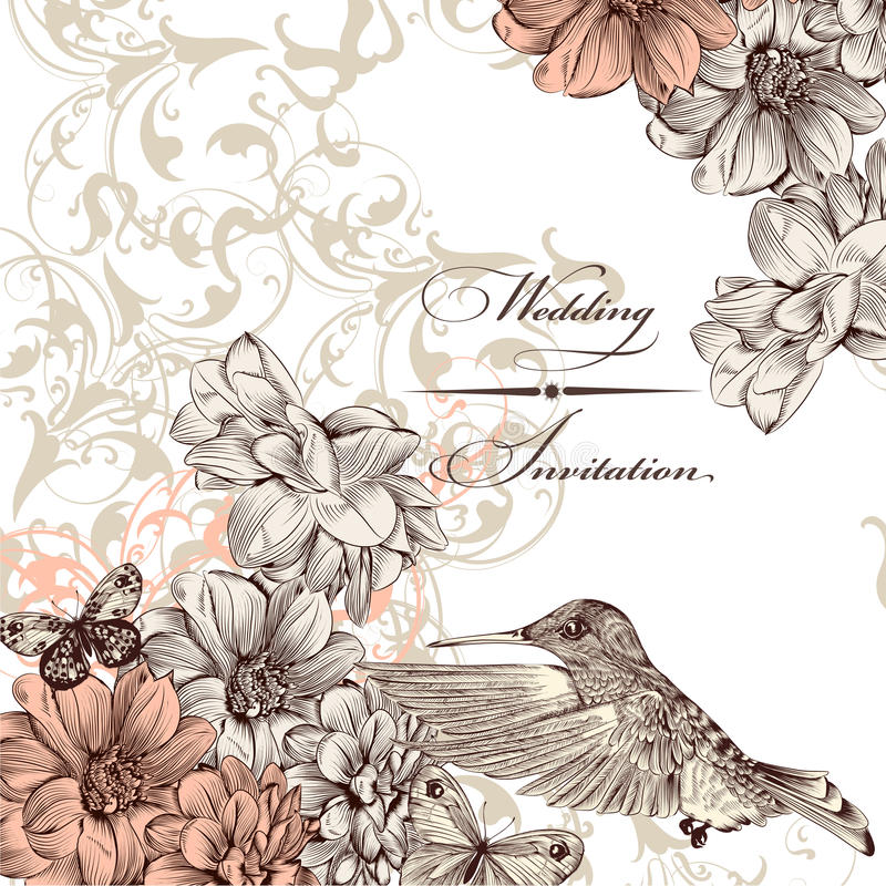 Wedding Invitation Card With Birds And Butterflies Stock Vector ...