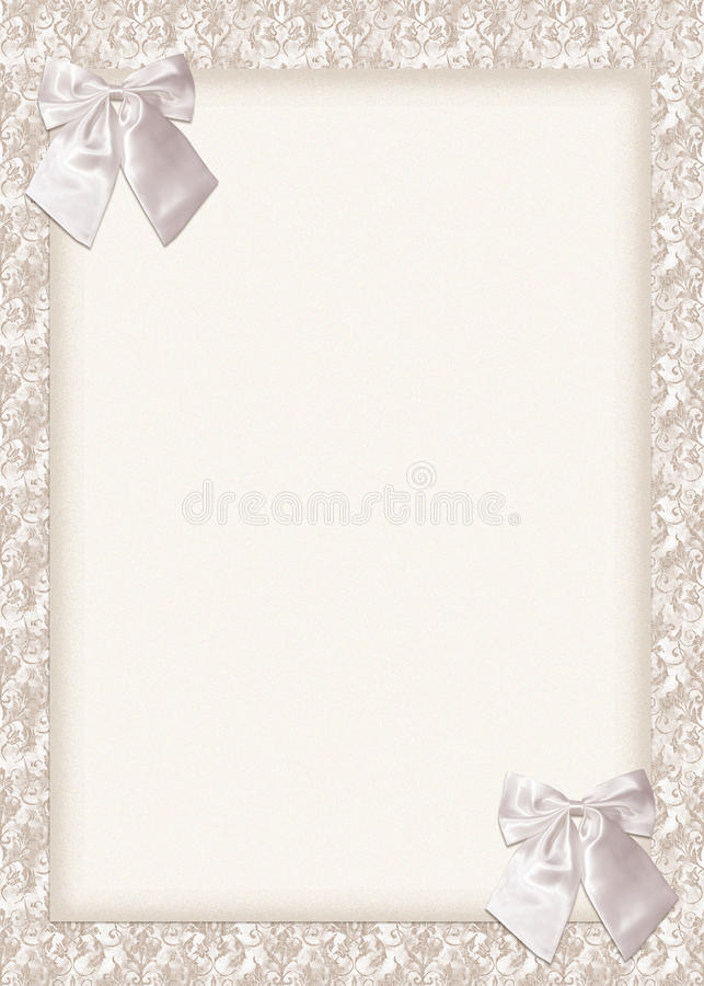 Wedding Invitation Card With Bows Stock Photo