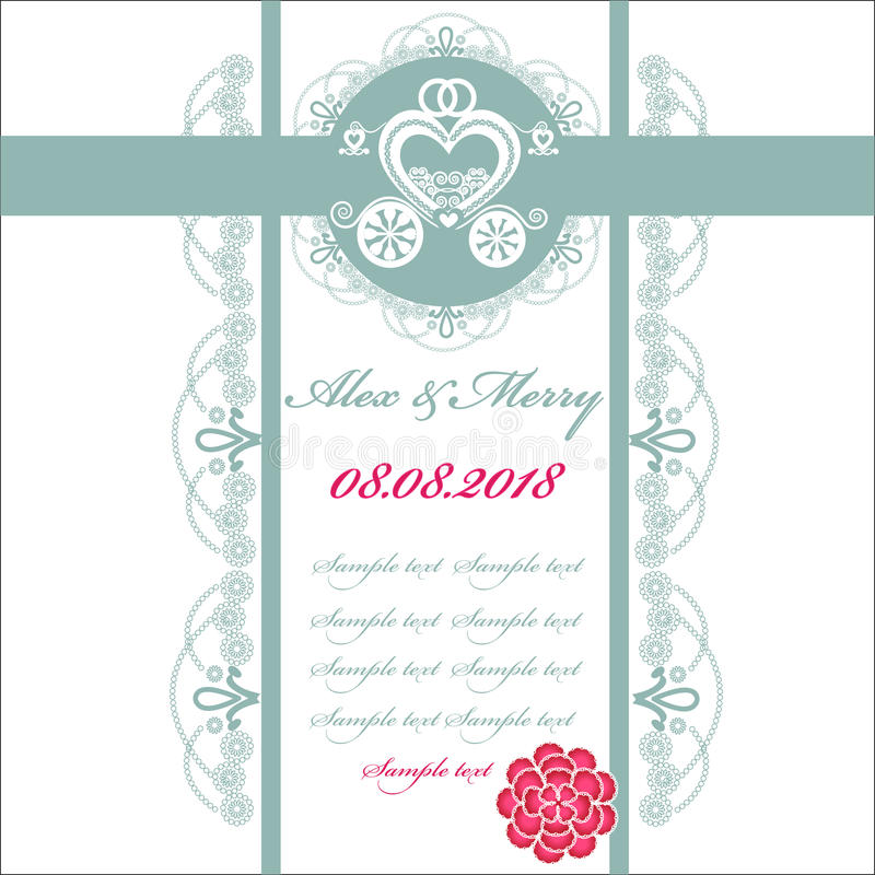 Download Wedding Invitation Card With Carriage Stock Vector - Image: 38871772