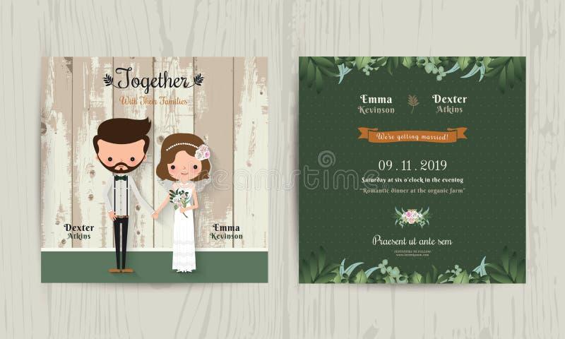 Wedding invitation card cartoon hipster bride and groom vector illustration
