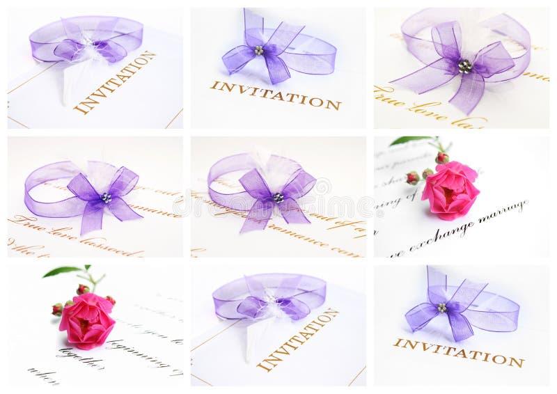 Wedding invitation card collage vector illustration