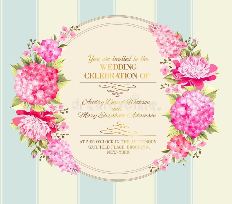 Wedding Invitation Card Of Color Flowers. Vector Stock Vector ...