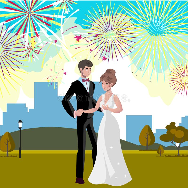 Wedding invitation card with couple and firework. Vector illustration royalty free illustration