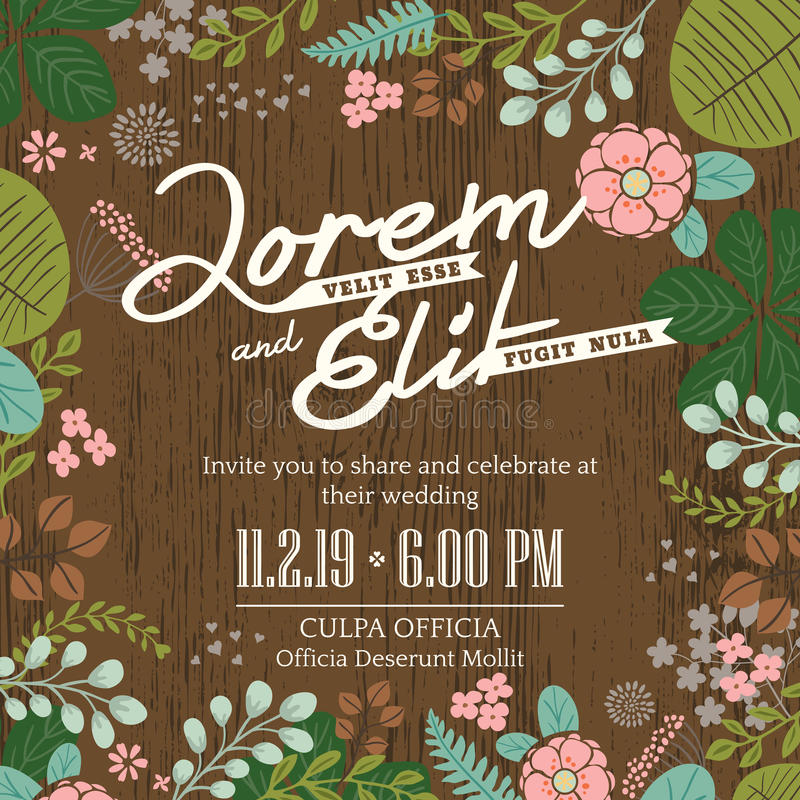 wedding invitation card with cute and colorful foliage background vector illustration