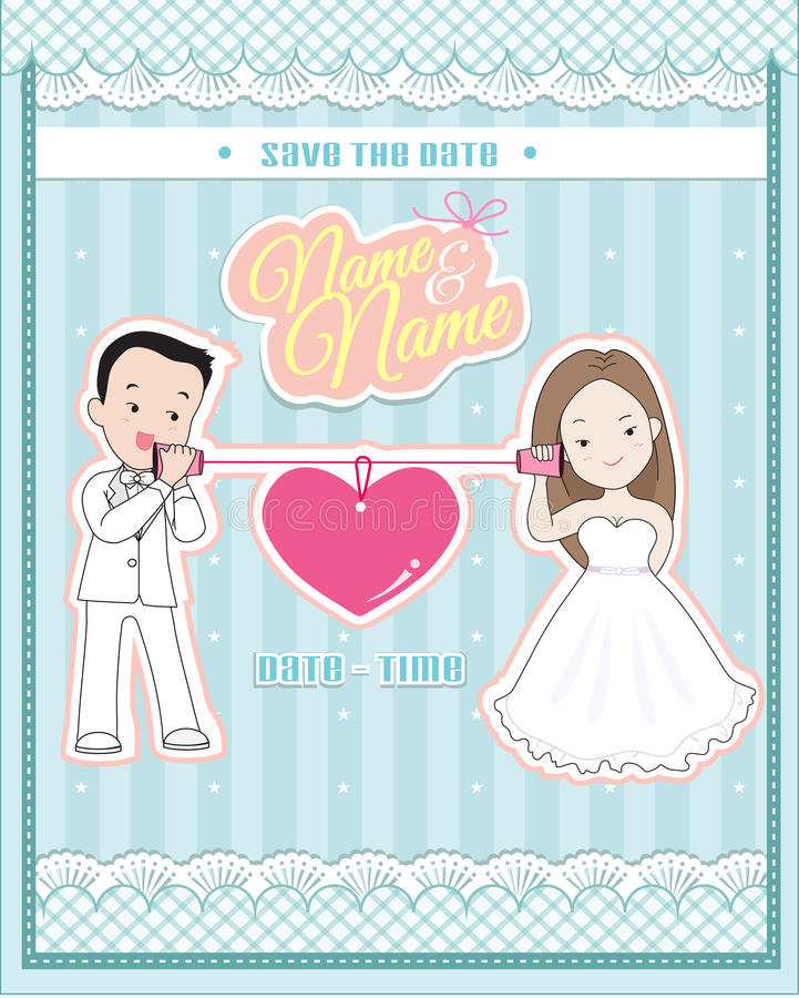 Wedding invitation card, cute couple talking through a string phone. (cup or paper phone vector illustration