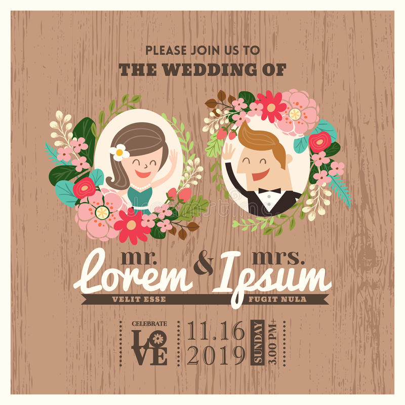 Wedding invitation card with cute groom and bride cartoon vector illustration