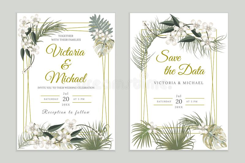 Wedding invitation card design, floral invite. Tropical jungle leaves elegant  frame set , olive green plants, palm tree leaves. stock illustration