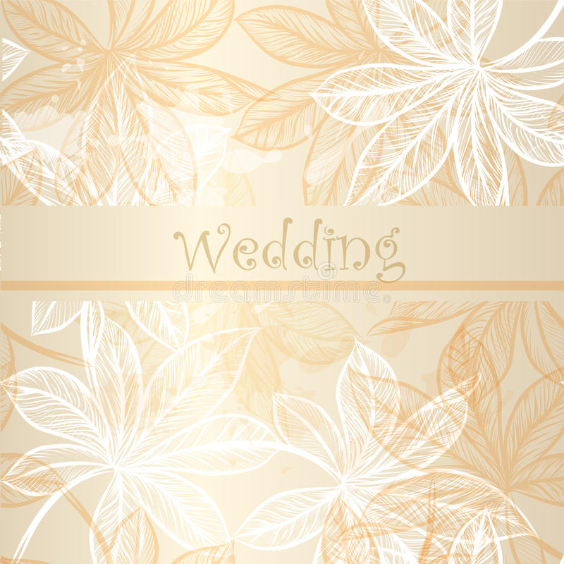 20)Wedding invitation card with floral elements royalty free illustration