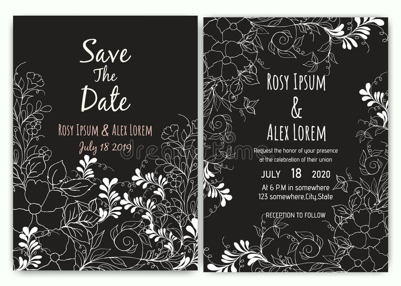 Wedding invitation card floral template collection. stock illustration