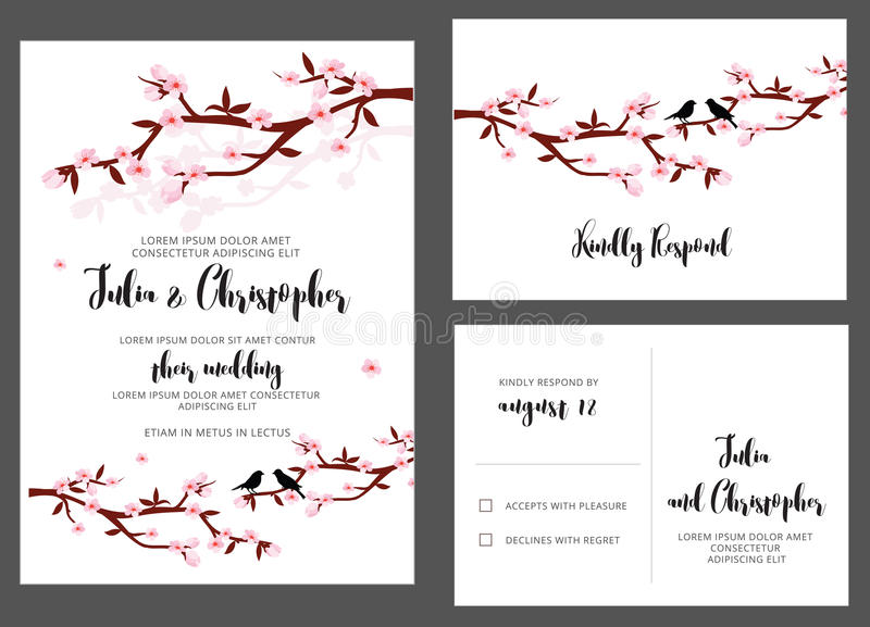 Wedding Invitation card with flower branches and birds vector illustration