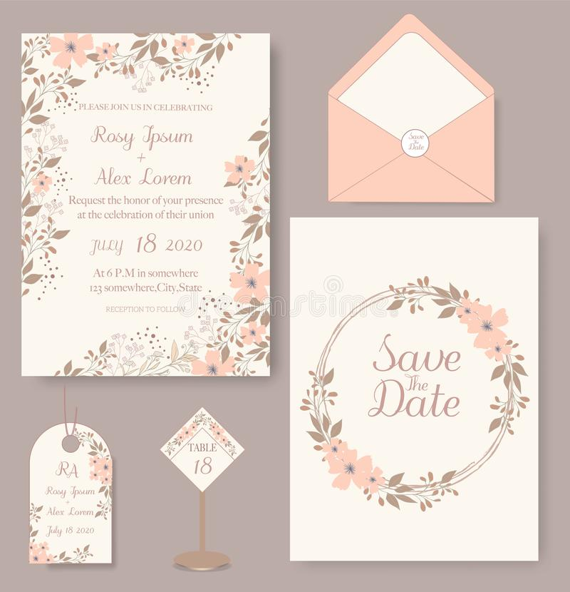 Wedding invitation card with flower Templates royalty free illustration