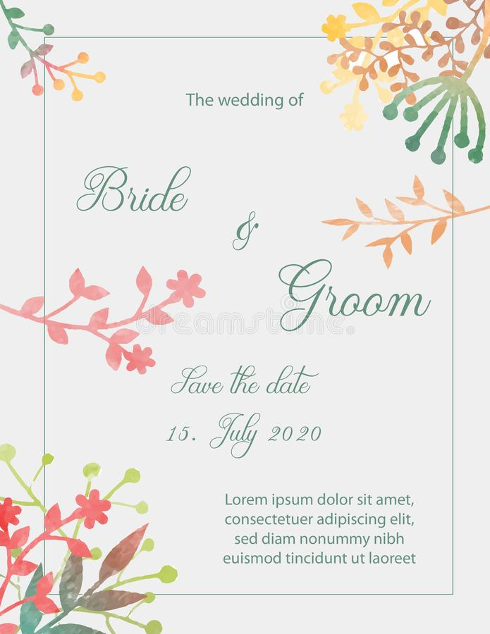 Wedding Invitation Card With Flowers Stock Vector - Illustration of ...