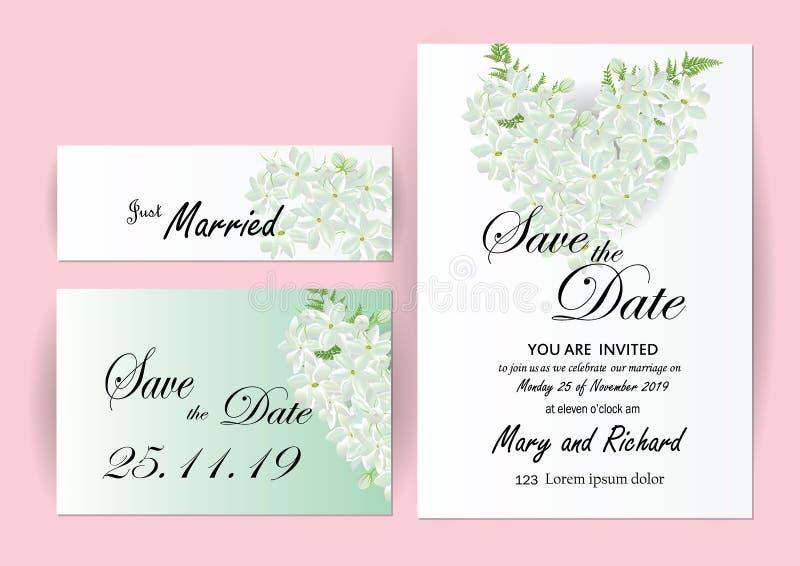 wedding invitation card flowers jasmine stock vector illustration of company celebration. Black Bedroom Furniture Sets. Home Design Ideas
