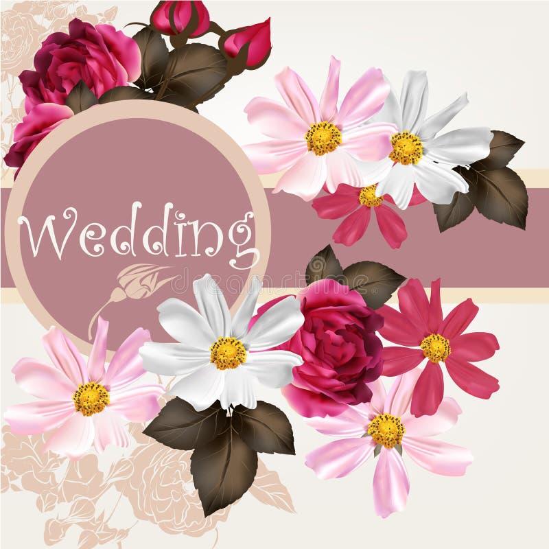 Flowers Vector Design Wedding Invitations Wedding: Wedding Invitation Card With Flowers Stock Vector