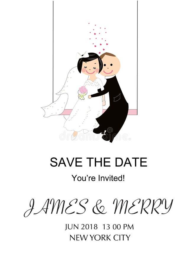 Wedding Invitation Card. Funny Wedding Couple. Stock Vector ...