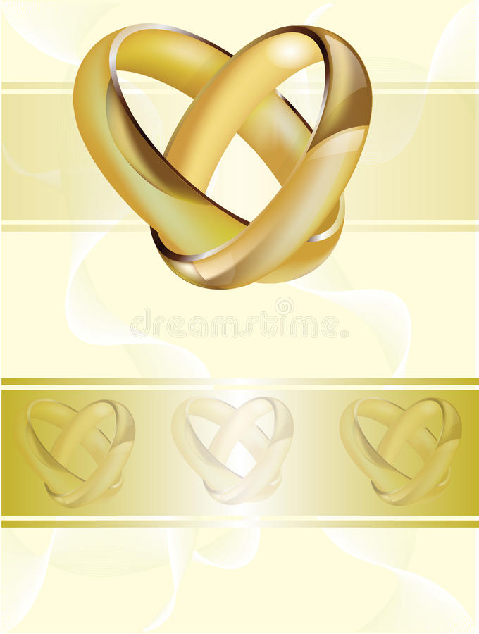 A wedding invitation card with gold rings vector illustration