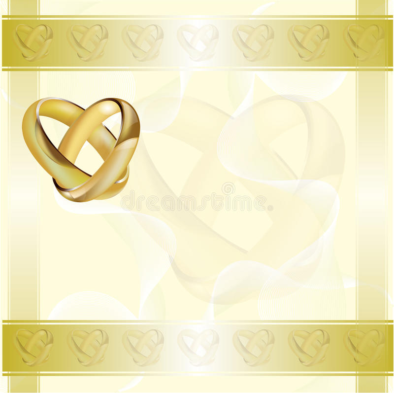 A wedding invitation card with gold rings royalty free illustration