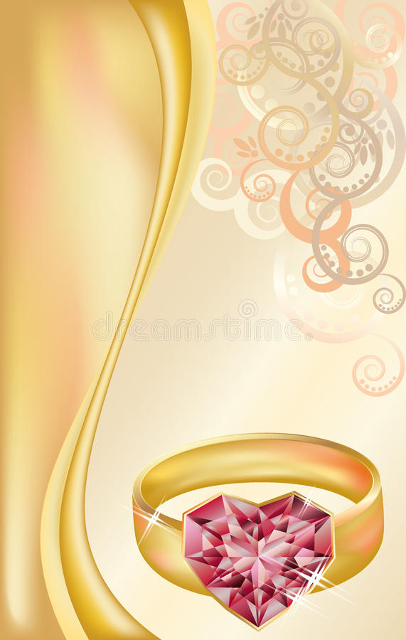 Wedding Invitation Card With Golden Ring Stock Vector - Illustration ...