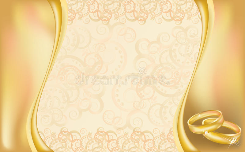 Wedding invitation card with golden rings and flor vector illustration