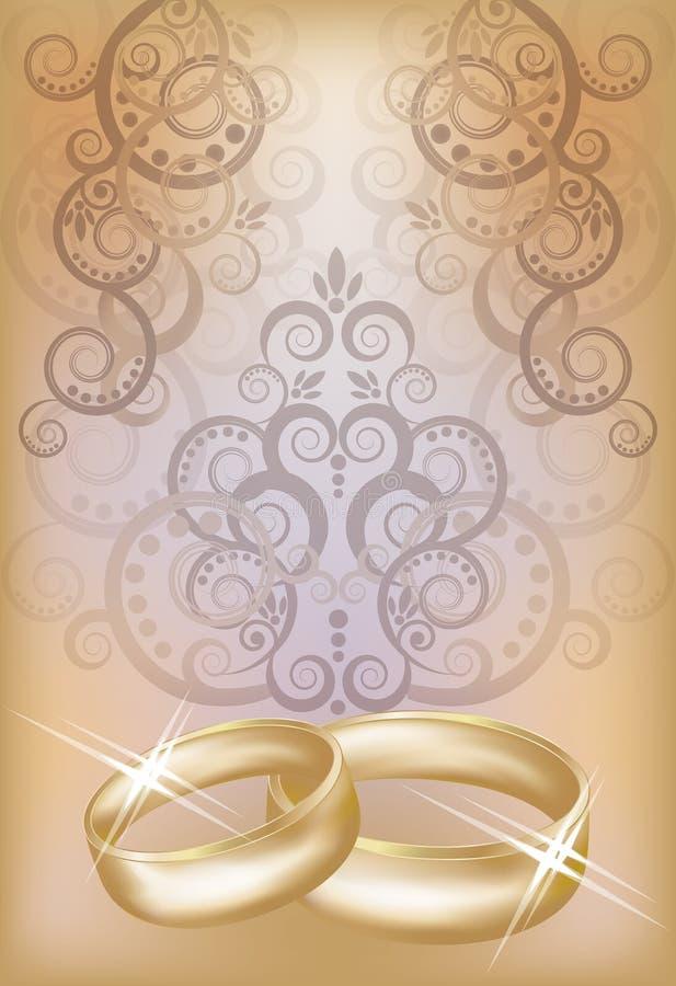 Wedding invitation card with golden rings stock illustration
