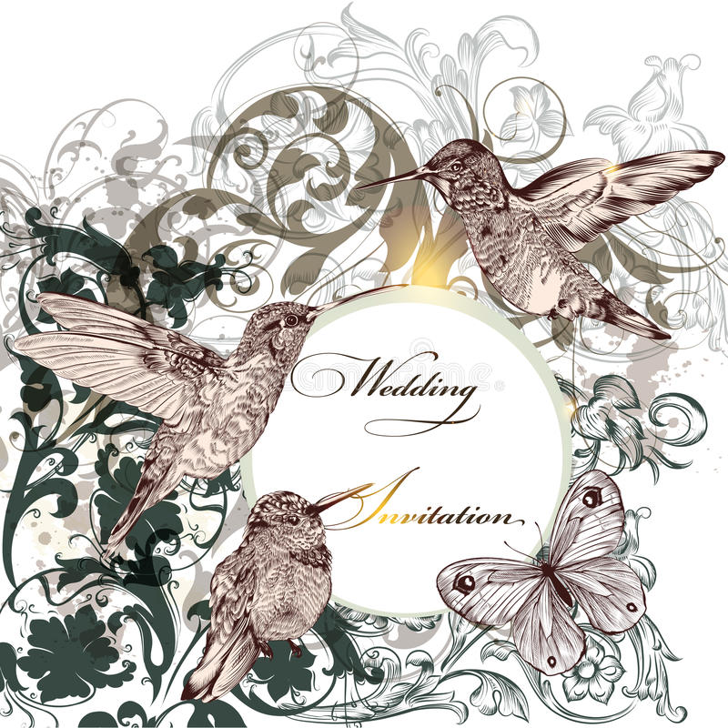 Download Wedding Invitation Card With Humming Birds Stock Vector - Illustration of design, elegant: 39506615
