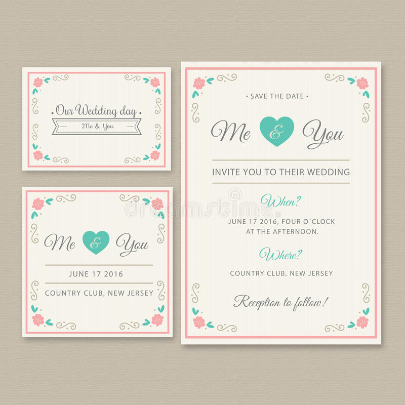 Wedding invitation card illustration set stock illustration available in high resolution and several sizes to fit the needs of your project editable file included in eps vector format card stopboris Image collections