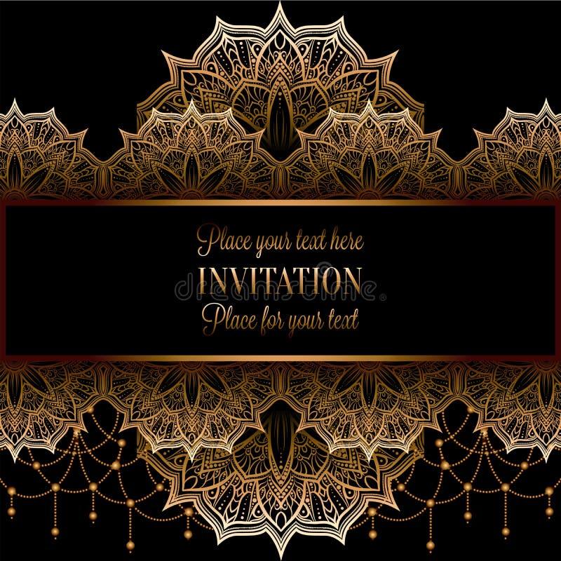 Wedding invitation or card , intricate mandala with beads background. Royal gold shades, Islam, Arabic, Indian, Dubai stock illustration
