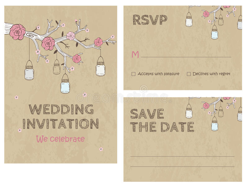 Wedding Invitation Card Invitation with jars stock illustration