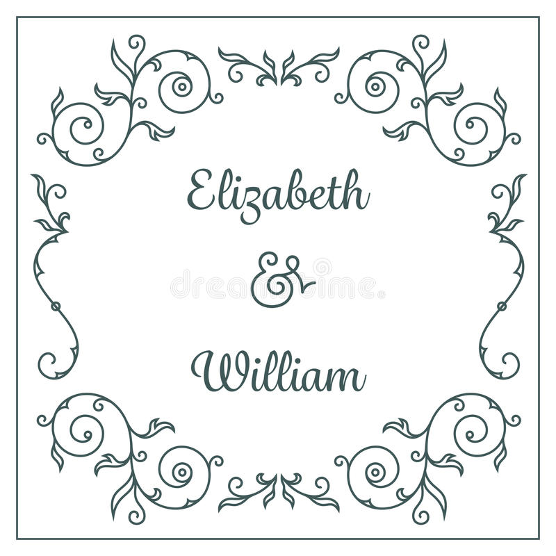 Wedding invitation card. Letterpress wedding invitation card template with floral ornaments and custom ampersand. Vector illustration royalty free illustration
