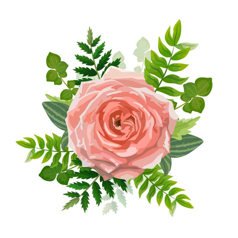 Wedding invitation card. Lovely template. Card design with rose flower. stock illustration