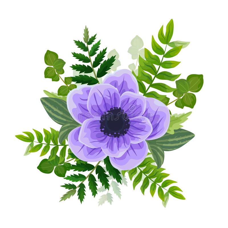 Wedding invitation card. Lovely template. Card design with violet anemone flower. vector illustration
