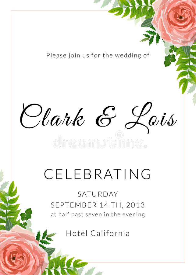 Wedding invitation card. Lovely template. Card design with rose flower, forest greenery ferns, plants, green leaves. vector illustration