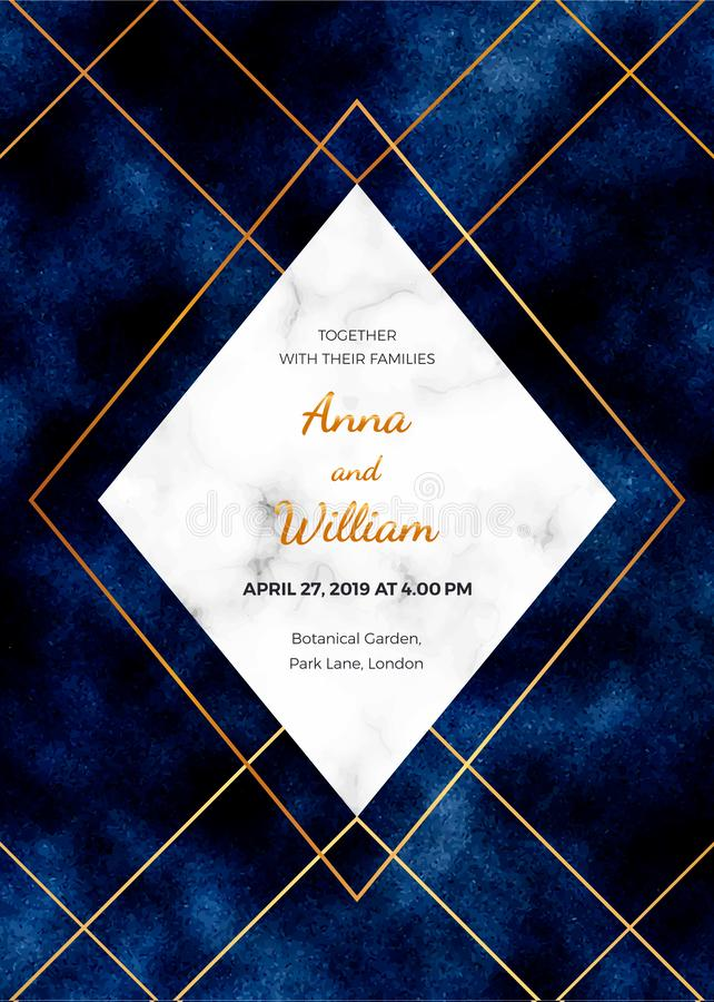 Wedding invitation card with marble frame, golden lines on the dark blue background. Magic night design template for invite, banne vector illustration