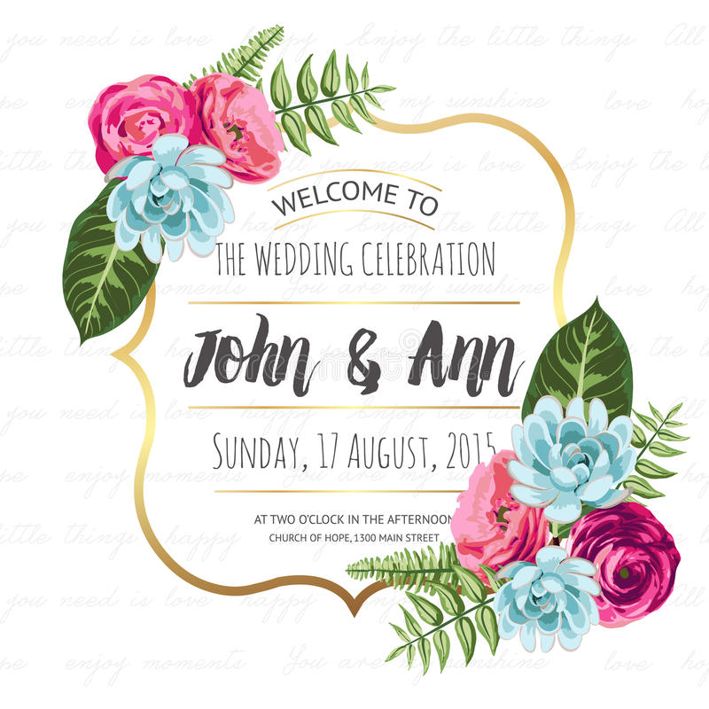 Wedding invitation card with painted flowers stock illustration