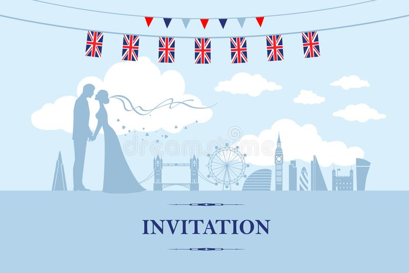 Couple in London. Wedding invitation card. Paper cut and craft style. Loving couple in London. London attractions as the background royalty free illustration