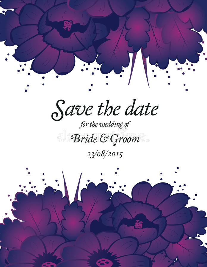 Download Wedding Invitation Card With Purple Flowers Stock Vector