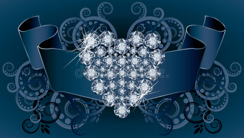Wedding invitation card with ribbon and diamond he. Art vector stock illustration