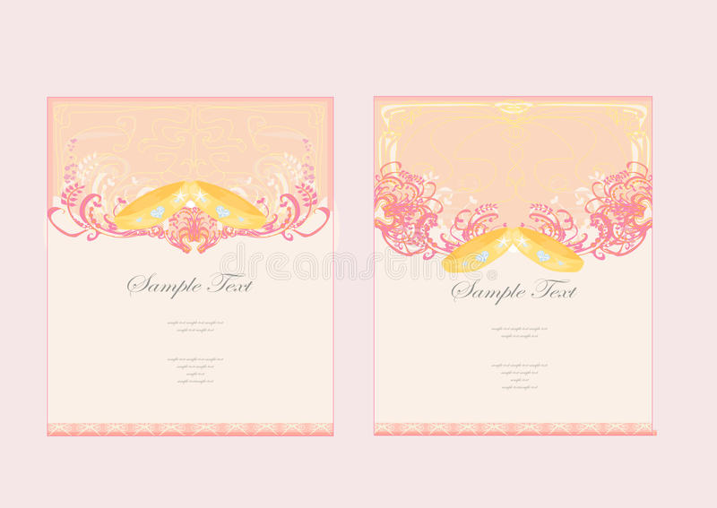 Wedding Invitation card with rings stock illustration