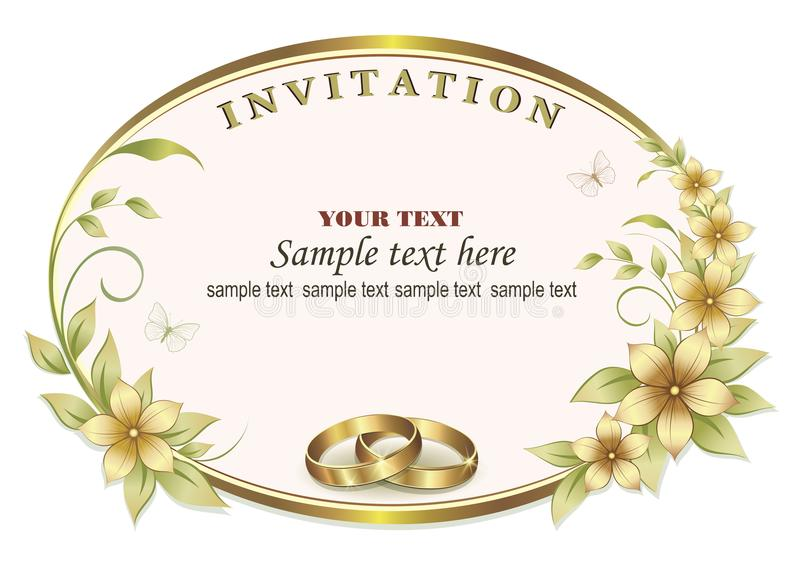 Wedding invitation with rings in a oval frame royalty free illustration