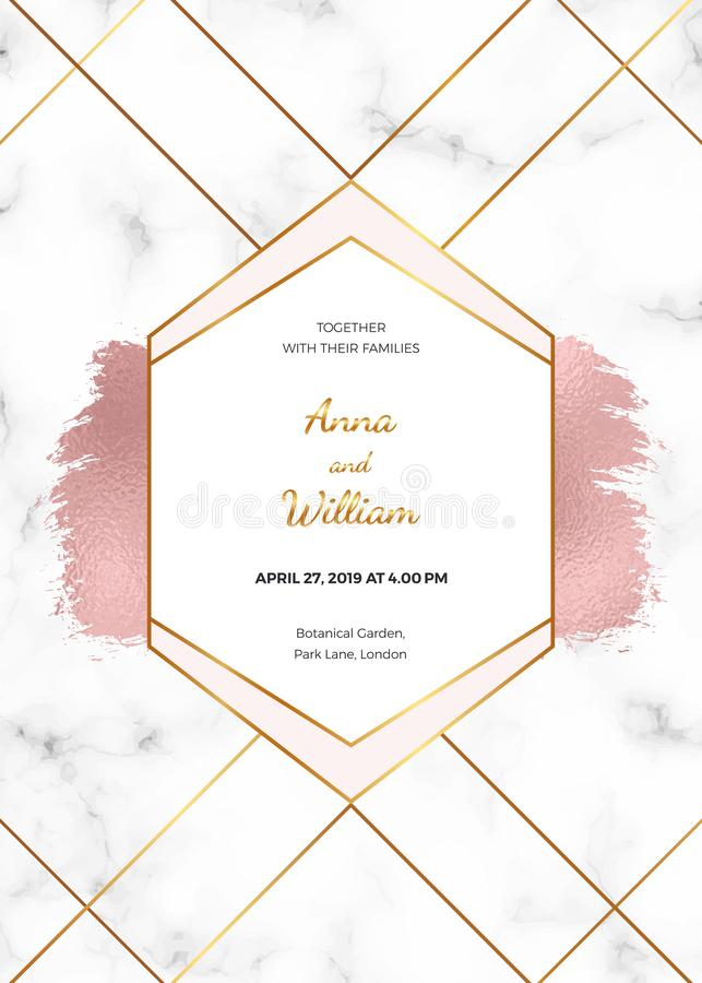 Wedding invitation card with rose gold geometric design, polygonal lines and foil brush paint stroke on the marble texture. Backgr royalty free illustration