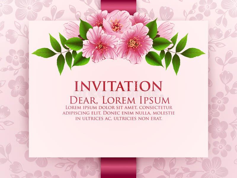Wedding Invitation Card. Sakura Flowers, Cherry Blossom. Stock ...