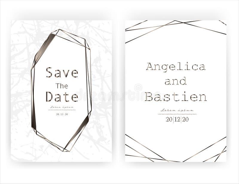 Wedding invitation card, Save the date wedding card, Modern card design with golden geometric and brush stroke. Wedding invitation card, Save the date wedding royalty free illustration