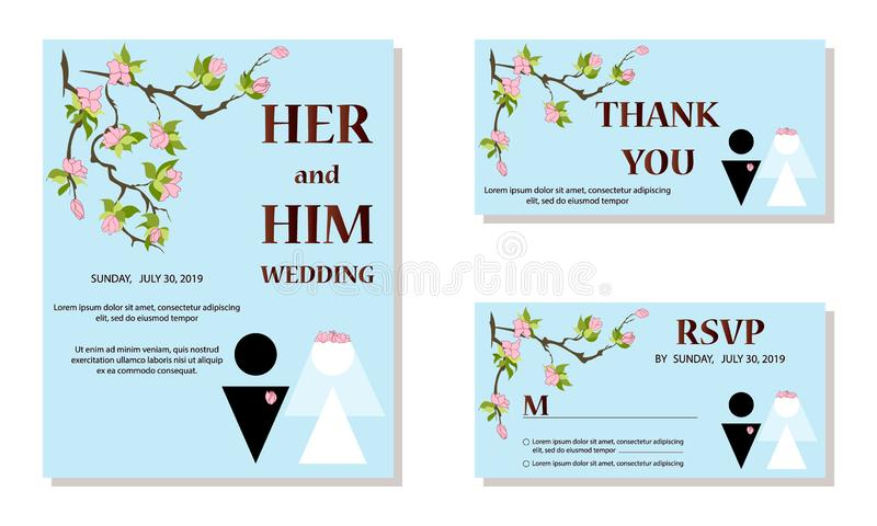 Wedding Invitation card, save the date, thank you, rsvp template. Bride and groom silhouette vector illustration