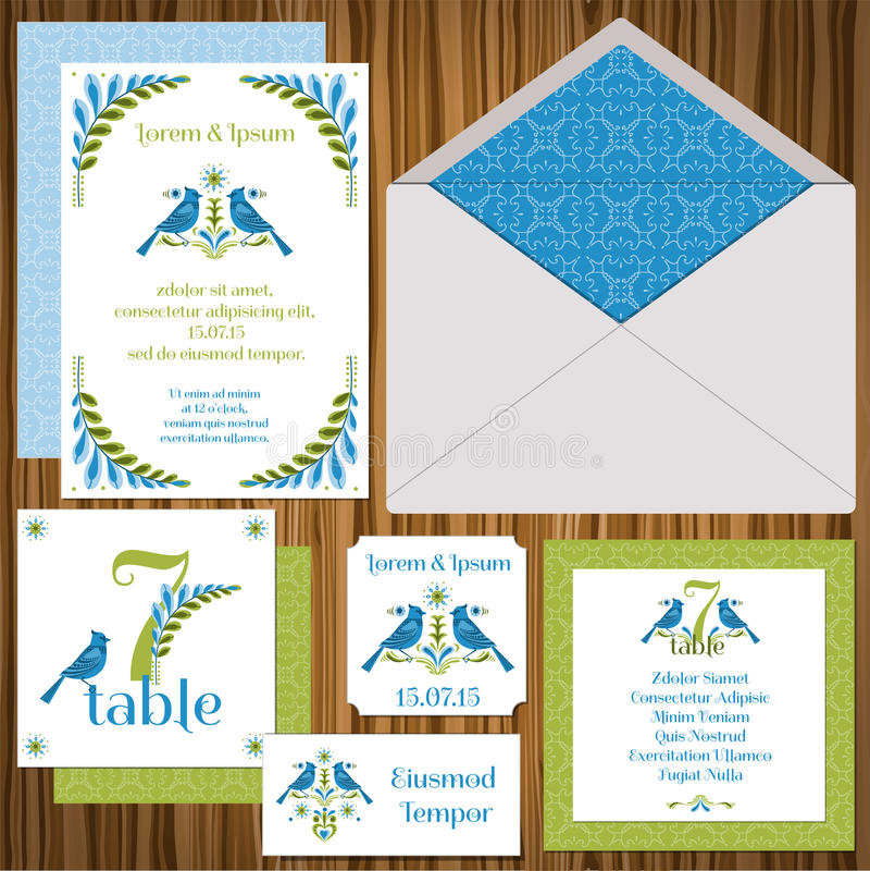 Wedding Invitation Card Set Stock Photography