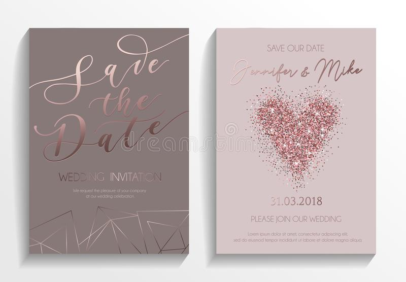 Wedding invitation card set. Modern design template with rose go. Ld glitter heart and lettering. Elegance wedding invitation with geometric elements. Vector vector illustration