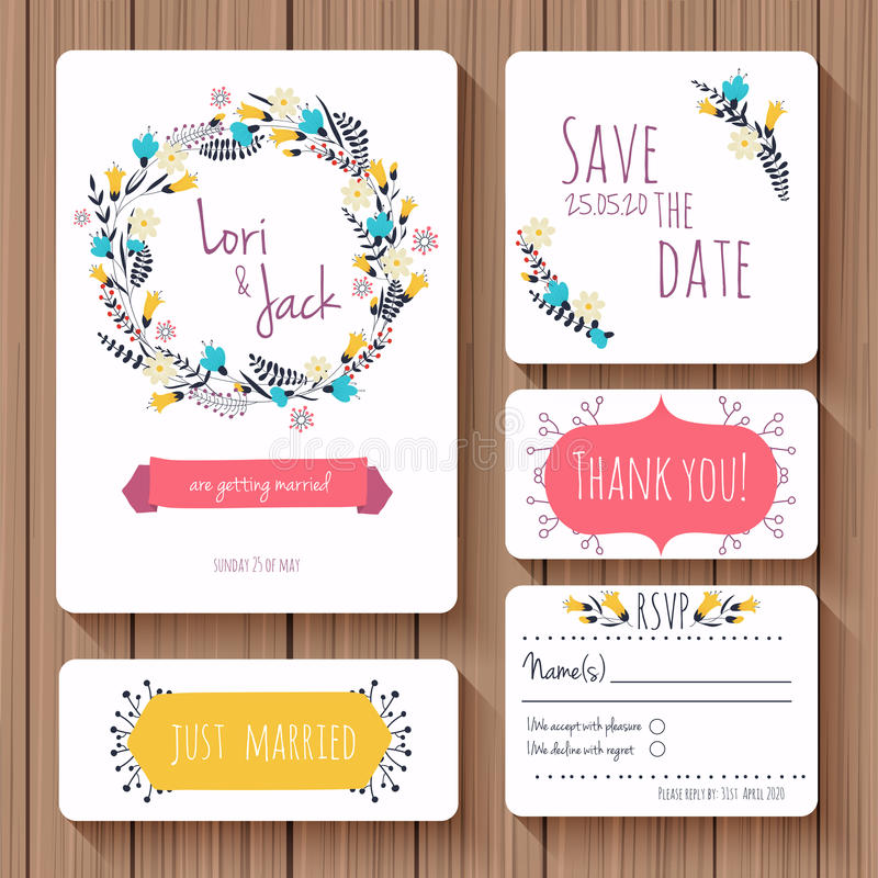 Wedding Invitation Card Set Thank You Card Save The Date Cards – Invitation Card Rsvp