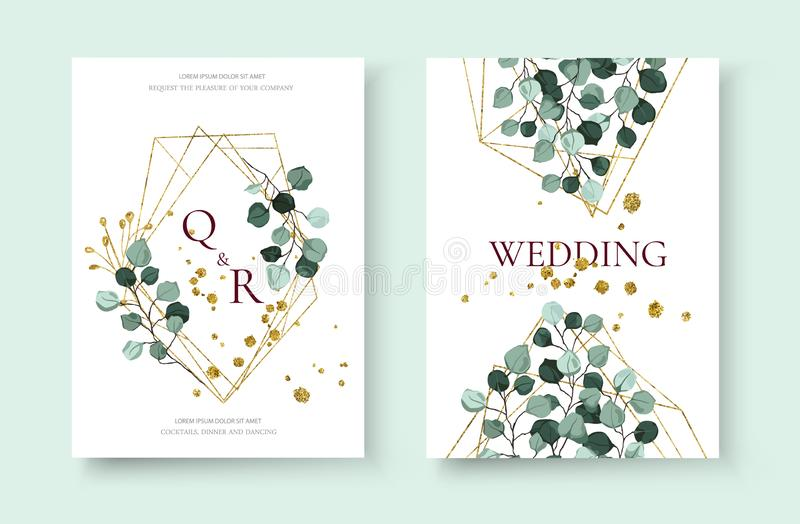 Wedding invitation card with silver dollar eucalyptus greenery leaves. Floral branches golden geometric triangular frame save the date design. Botanical mint royalty free illustration