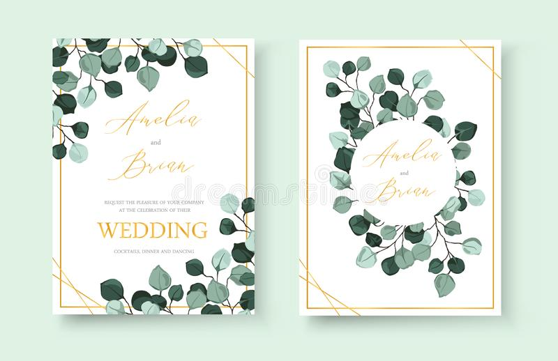 Wedding invitation card with silver dollar eucalyptus greenery leaves. Floral branches minimalist save the date design wreath and frame. Botanical mint green royalty free illustration